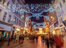 Julljus på den nya gatan, Birmingham Fotografering för Bildbyråer