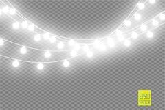 Julljus på genomskinlig bakgrund Glödande girland för Xmas också vektor för coreldrawillustration vektor illustrationer