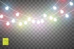 Julljus på genomskinlig bakgrund Glödande girland för Xmas också vektor för coreldrawillustration royaltyfri illustrationer
