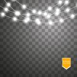 Julljus på genomskinlig bakgrund Glödande girland för Xmas också vektor för coreldrawillustration stock illustrationer