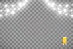Julljus som isoleras på genomskinlig bakgrund Glödande girland för Xmas också vektor för coreldrawillustration stock illustrationer