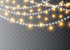 Julljus som isoleras på genomskinlig bakgrund Glödande girland för Xmas också vektor för coreldrawillustration vektor illustrationer