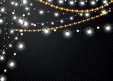 Julljus som isoleras på genomskinlig bakgrund Uppsättning av den guld- glödande girlanden för xmas också vektor för coreldrawillu royaltyfri illustrationer