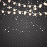 Julljus ställde in av den guld- glödande girlanden för xmas royaltyfri illustrationer