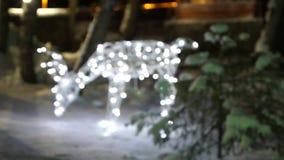 Jullykta med snöfall, Closeupsikt snow Vit färg natt lager videofilmer
