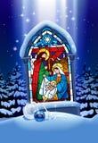 Julmålat glassfönster i vinterskog stock illustrationer