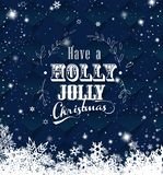 Julmörker - blå vektorbakgrundsillustration med snöflingor och vit text för glad jul vektor illustrationer