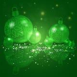 Julmörker - grön bakgrund med en uppsättning av skinande bollar för jul med snöflingor vektor illustrationer