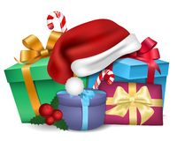 Julmall med gåvor och en santa hatt Kort för nytt år med gåvor stock illustrationer