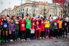 Julmaraton i Vilnius Fotografering för Bildbyråer