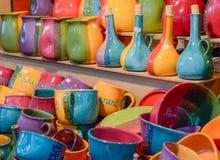 Julmarknad Färgrikt keramiskt gods Arkivbild
