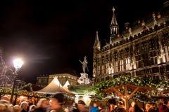 Julmarknad i Aachen Arkivfoto