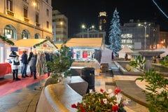 Julmarknad i aftonen fotografering för bildbyråer