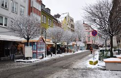 Julmarknad i Dusseldorf Arkivbilder