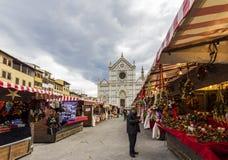 Julmarknad i Florence Arkivfoto
