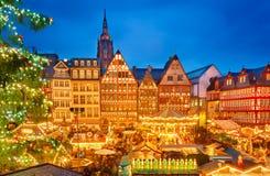 Julmarknad i Frankfurt Arkivbilder