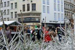 Julmarknad i mitten Bryssel Fotografering för Bildbyråer