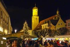 Julmarknad i Weilheim, Bayern fotografering för bildbyråer