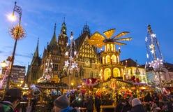 Julmarknad i Wroclaw, Polen arkivbild