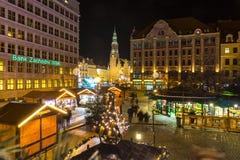 Julmarknad i Wroclaw, Polen royaltyfria foton