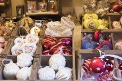 Julmarknad med karusell Arkivbild