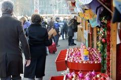 Julmarknad på helgonet Catherine Square Arkivbild