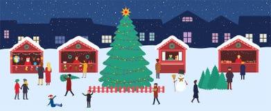 Julmarknaden med souvenir stannar och ett stort träd för Ñ-hristmas i aftonstadsfyrkant Festlig vintershopping royaltyfri illustrationer