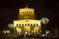 Julmarknader på konungen Sq George av PodÄbrady. Arkivfoton