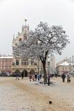 Julmarknadsfyrkant i Rzeszow, Polen arkivfoto
