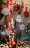 Julmarknadsgarnering - träd och klockor Royaltyfria Foton