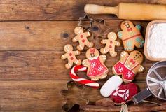 Julmat Ingredienser för att laga mat jul som bakar, överkant VI royaltyfria bilder