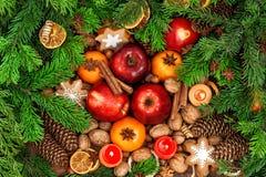 Julmatbackdround Frukter, kryddor och kakor royaltyfri fotografi