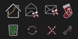 Julmaterialsymboler stock illustrationer