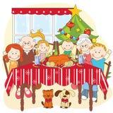 Julmatställe. Stor lycklig familj tillsammans. vektor illustrationer