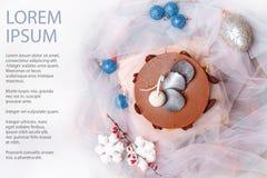 Julmatstilleben med chokladkakan Fotografering för Bildbyråer