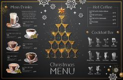 Julmenydesign med guld- champagneexponeringsglas gifta sig för tomater för matställemeatrulle rökt stock illustrationer