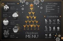 Julmenydesign med guld- champagneexponeringsglas gifta sig för tomater för matställemeatrulle rökt royaltyfri illustrationer