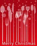 Julmenyer, bestick som äter middag matställeinbjudankortet royaltyfri illustrationer