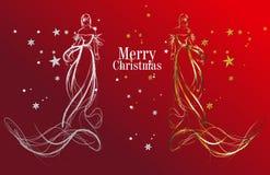 JULMODEFLICKOR runt om kortbarn cirklar julen den lyckliga snowmanen för danshelgdagsaftonhälsningar stock illustrationer