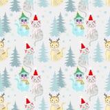 Julmodellbakgrund med den gulliga katten royaltyfri illustrationer