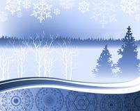 Julnatt - bakgrund med vinterskogen vektor illustrationer