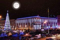 Julnatt i Kiev Royaltyfria Foton