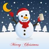 Julnatt med den berusade roliga snögubben Arkivfoton