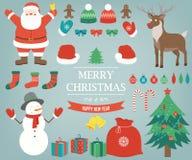 Julobjekt, beståndsdelar och garneringuppsättning tecknad hand vektor stock illustrationer