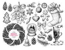 Julobjektuppsättning Hand tecknad vektorillustration Xmas-symboler vektor illustrationer