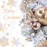 Julordning på vit bakgrund, kopieringsutrymme Royaltyfria Foton
