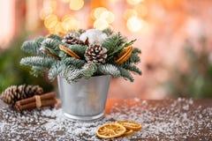 Julordningen med norrman sörjer Nobilis och som dekorerar med juldekoren i en metallkopp Girlandbokeh på royaltyfria foton