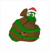 Julorm med gåvapåsen Arkivfoto