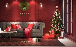 Julparti på natten, i vardagsrum - garneringar på röd wa stock illustrationer
