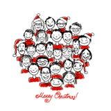 Julpartiet med grupp människor, skissar för Royaltyfri Bild
